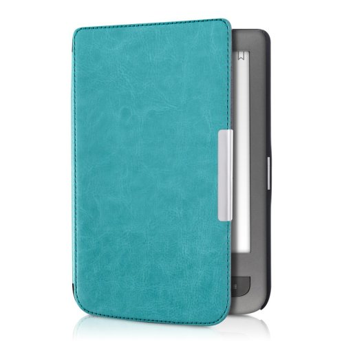 kwmobile Case for Pocketbook Touch Lux 3/Basic Lux/Basic Touch 2 - Book Style PU Leather Protective e-Reader Cover Folio Case - Light Blue