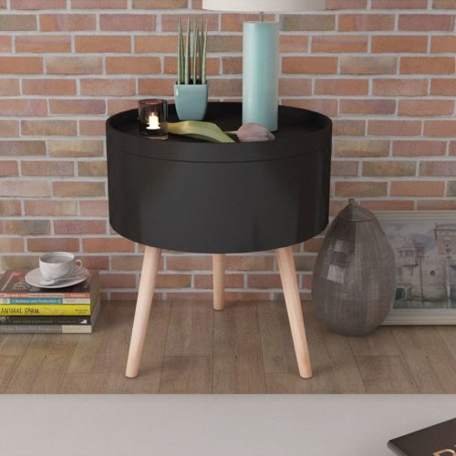 vidaXL Side Table with Serving Tray Round 39.5x44.5cm Black Telephone Stand