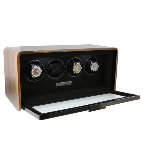 4 Watch Winder Light Walnut Finish the Premier Collection by Aevitas
