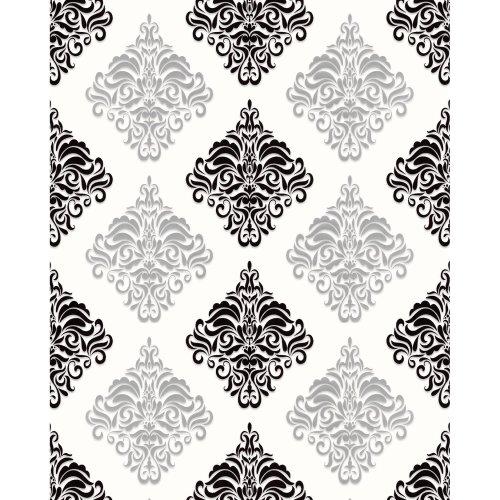 EDEM 85024BR20 Baroque wallcovering metallic highlights white black 5.33 m2