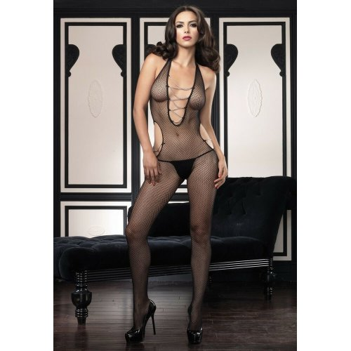 Leg Avenue - Halter fishnet cut out bodystocking with chain detail - One Size - Black - 89053