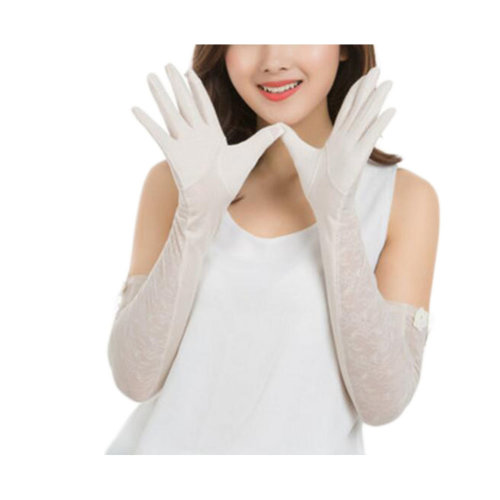 Lace Cotton Outdoor Sunscreen Clothing Women Gloves Breathable Thin Sun Protective Clothing Sleeves-White