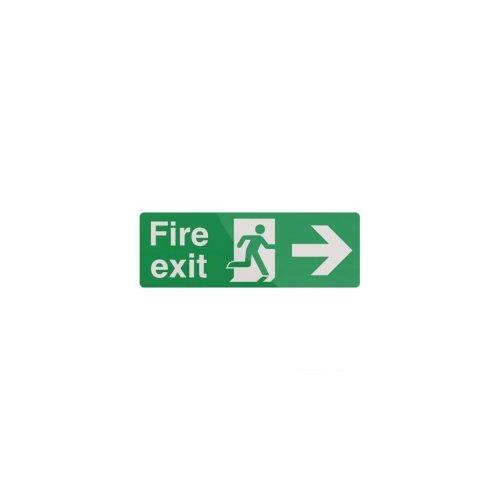 Fire Exit Arrow Sign - 400 x 150mm Rigid Right