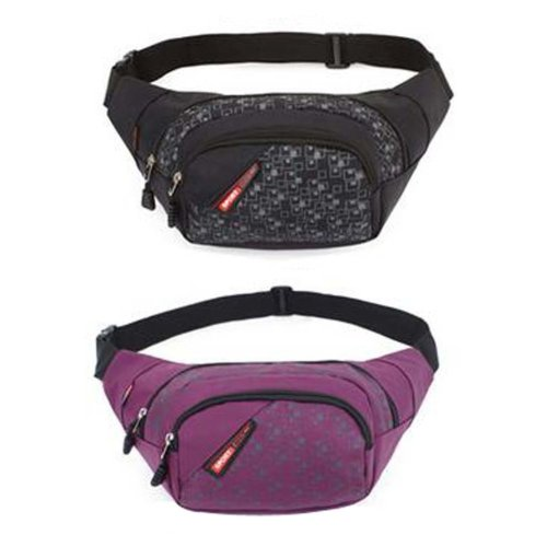 Set of 2 Lovely Sports/Running Pockets Outdoor Waist Packs (Black And Purple)