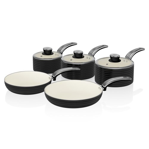 Swan Retro Pan Set with Easy Clean Non-Stick Ceramic Coating, Aluminium, Black, 5 Piece