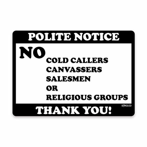 stika.co No Cold Callers Calling House signs Door Stickers Window Self-adhesive Vinyl Sticker 70 x 100mm