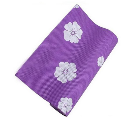 Rubber Yoga Mat Eco Print Yoga Exercise Mat 6mm (Purple)+ Mesh Bag