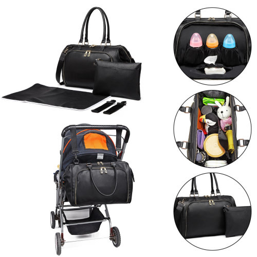 Miss Lulu 3 Pieces Baby Nappy Diaper Changing Bag PU Leather Black