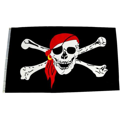 5 feet x 3 feet JOLLY ROGER PIRATE FLAG skull + crossbones caravan camping boat