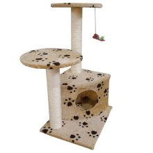 Scratching Cat Play Pole Beige with Paw Print
