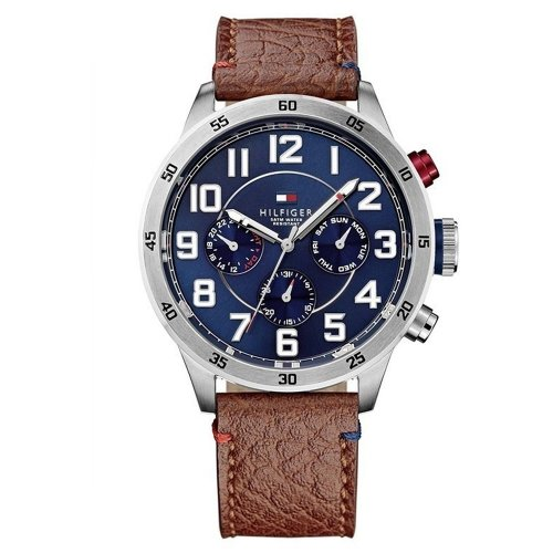 Tommy Hilfiger Men's 1791066 Stainless Steel Watch with Brown Leather Band UK