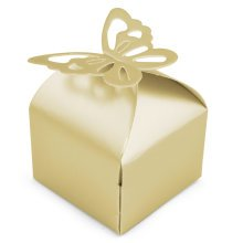 50pc Trixes Wedding Favour Boxes – Yellow | Gold Butterfly Wedding Favour Box