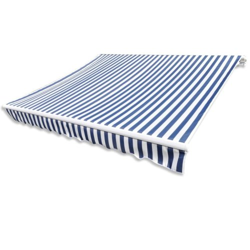 Awning Top Sunshade Canvas Blue & White 3 x 2,5m (Frame Not Included)