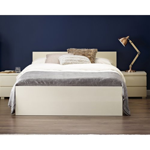 King Size Bed Frame 5ft Bedstead Headboard Footboard High Gloss Cream