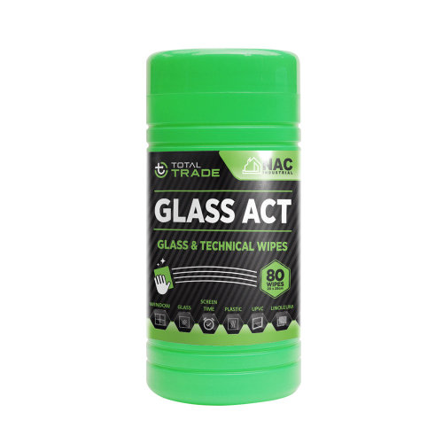 TOTAL TRADE GLASS ACT Cleaning Wipes for Glass Window Mirror Plastic