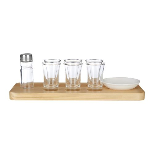 Tequila Shot Glass Set With Wooden Tray