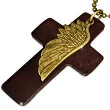 Urban Male Brown Leather Cross Pendant with Distressed Gold Coloured Angel's Wing & Chain