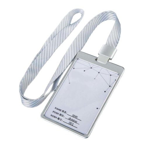 Aluminum Alloy Vertical Style ID Card Badge Holder with Neck Lanyard Strap 3PCS, 19