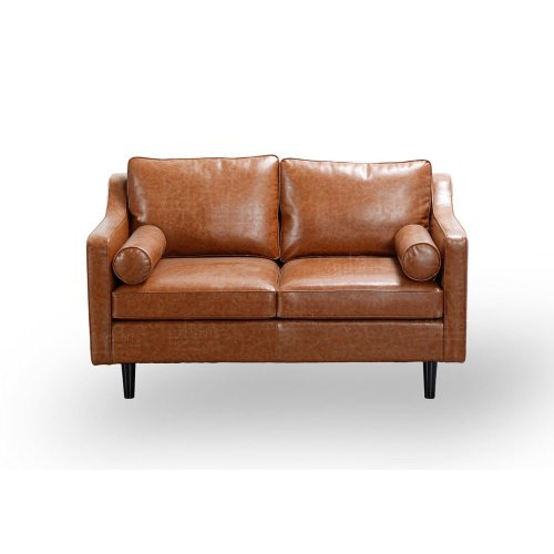 Scandinavian Retro Style Tan 2 Seater Sofa Premium Quality PU