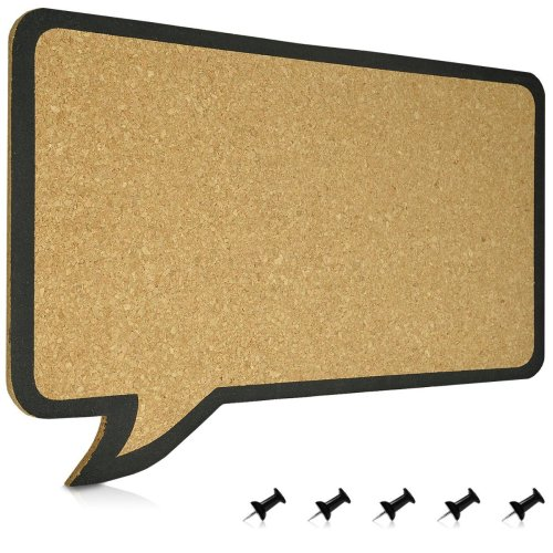 Navaris Cork pin board/44 x 29 cm/Message Board in Speech Bubble design/100% Real corc/incl. 5 pins/Stable Panel/with Wall Mount/Without Frame