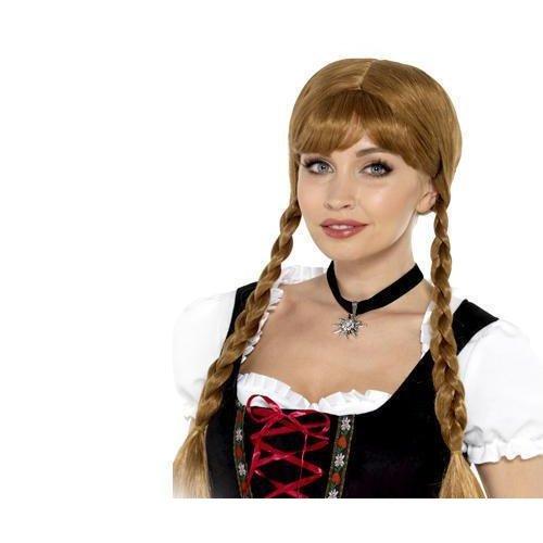Bavarian Frõulein Choker, Black, With Edelweiss Flower -  bavarian frulein choker ladies fancy dress oktoberfest womens costume accessory
