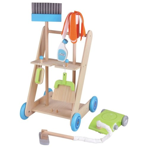 Lelin 11PC Wooden Toy Cleaning Cart Trolley Pretend Play Set for Kids