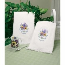 D73220 - Dimensions Stamped Embroidery -  Towels: Teapot Floral