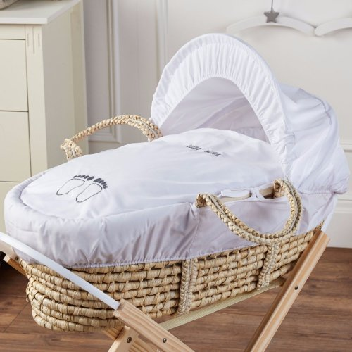 Pitter Patter Palm Baby Moses Basket Deluxe New
