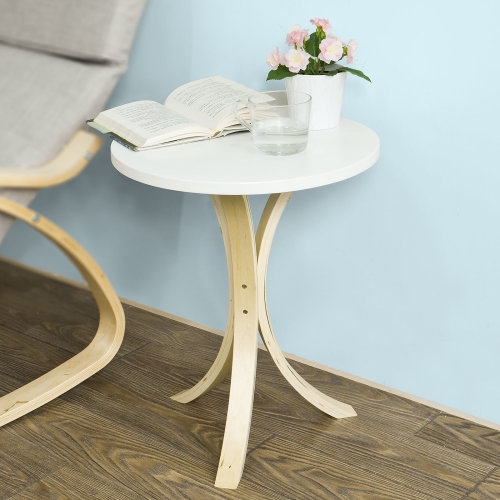 SoBuy® FBT29-W, Round Wooden Side Table End Table Tea Coffee Table