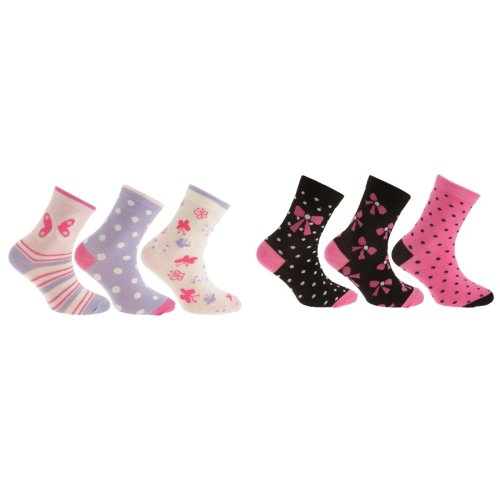Childrens Girls Patterned Casual Socks (Pack Of 3)