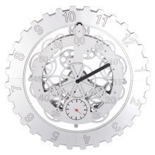 GoedYE 3D metal gear wall clock- Classical silver 45 cm