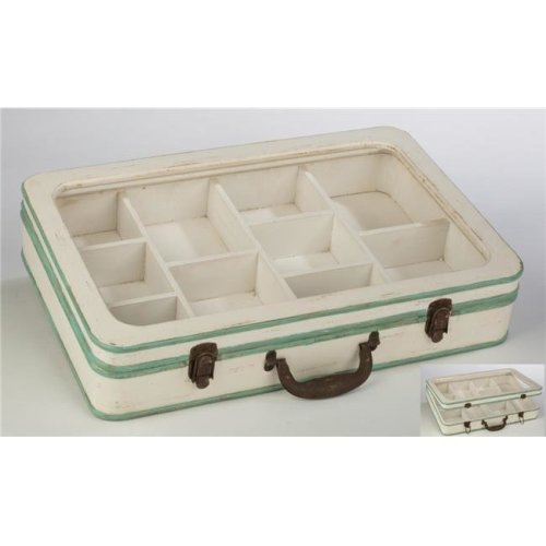 Tripar 15433 Wood Divided Jewelry Suitcase with Glass Top, White & Mint