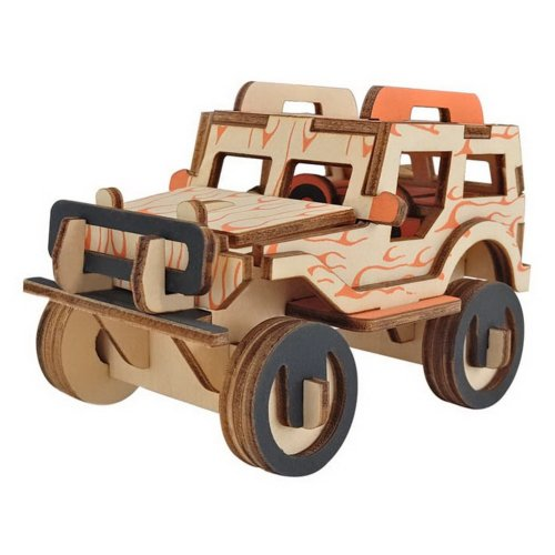 Children's Wooden Puzzle Stereo 3D Simulation Toy Model, Jeep Puzzle (40 Pieces)