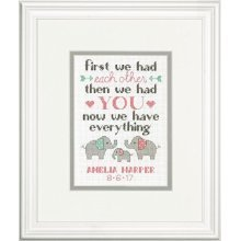 Dimensions Family Birth Record Counted Cross Stitch Kit, Multi-colour - Kit -  dimensions counted cross stitch kit birth record elephant family