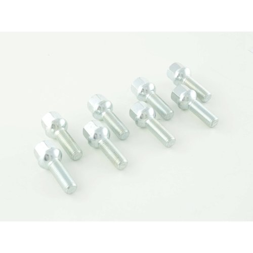 Wheel bolts Set (8 pieces), M12 x 1,5 32mm domed silver