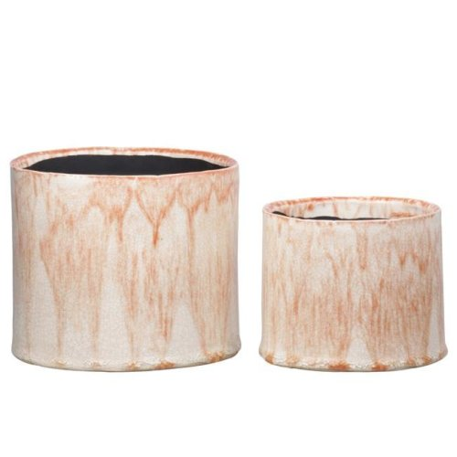 Urban Trends Collection 51623 Ceramic Round Pot with Rusted Orange Crackled Design Body & Black Inner Surface, Gloss Finish, Orange - Set of 2