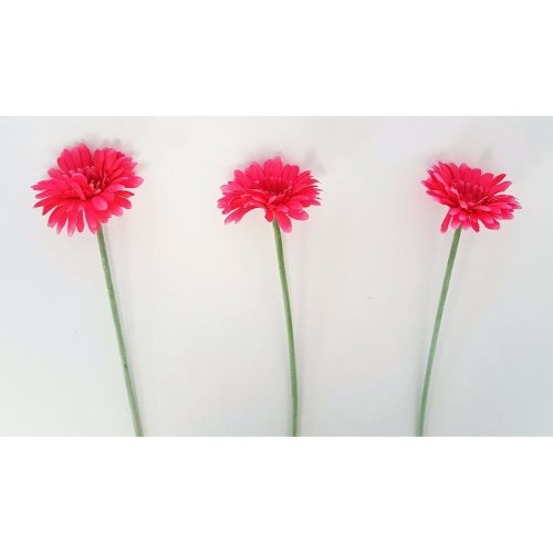 "Set of 3 Artificial Hot Pink Gerbera Stems - 54cm / 21"" - Summer Faux Flower"