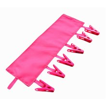 Portable Hanger 6 Clips Foldable Bathroom Hang Clothing Rack-Rose Red