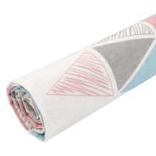 Cotton Linen Pink Triangle Pattern Fabric Sewing DIY Cloth