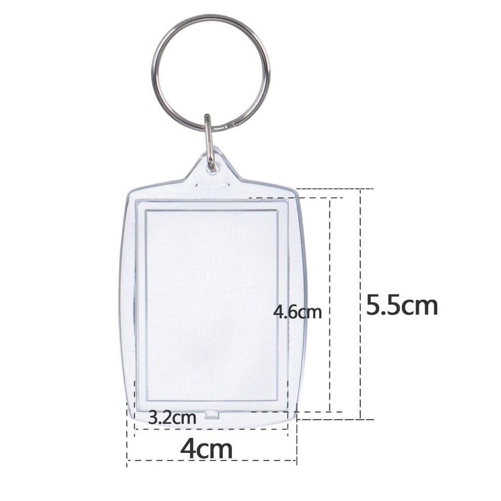Photo Insert Keychain Acrylic Blank Keyrings Picture Frame Keyring Photo  Clear Split Keychain Passport Photo Size, 4 cm by 5 5 cm (50)
