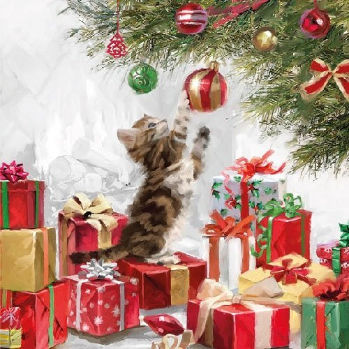 Ambiente 3 Ply Paper Napkins, Kitten and Baubles