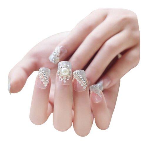 2 Boxes(48 Pieces) Wedding Beads Style DIY 3D Design False Nails, White