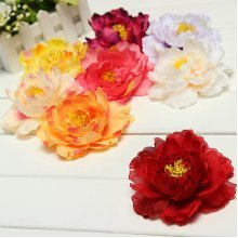 Artificial Silk Peony Flower Heads 4 Home Wedding Party Floral decor Hair Clip""