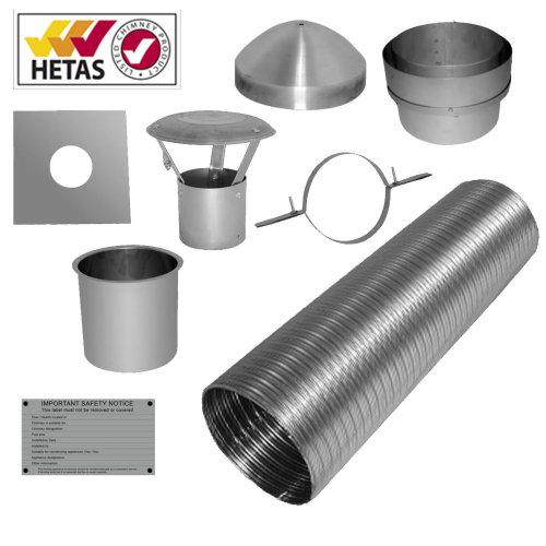 9m 5inch125mm multifuel stove wood burner flue liner + installation kit
