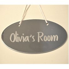 Personalized Mirrored Door Sign - Any Name Boys/Girls - Bedroom Plaque