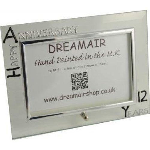 Wedding Anniversary Gift Photo Frame Landscape (Black/Silver)
