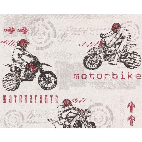 NEW AS CREATION MOTOR BIKE PATTERN MOTORCROSS SPORT TEXTURED CHILDRENS WALLPAPER[WHITE 935505]